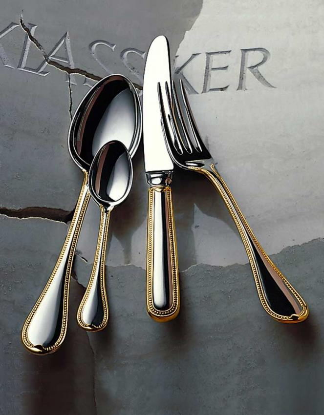 robbe berking franz sisch perl cutlery in silver plated w gold decor. Black Bedroom Furniture Sets. Home Design Ideas