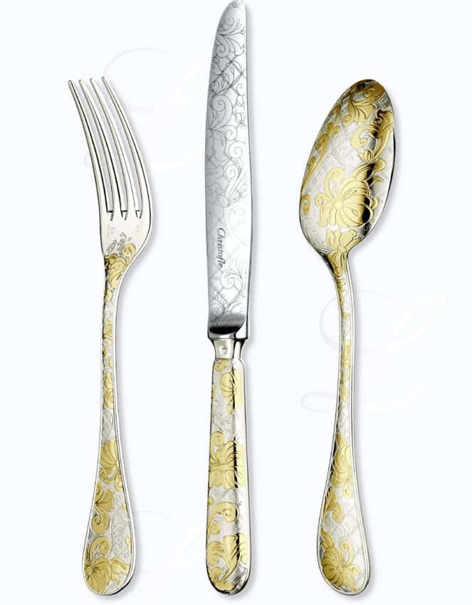 Christofle jardin d 39 eden cutlery in silver plated w gold for Decoration jardin d eden