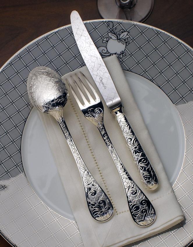 Christofle jardin d 39 eden cutlery in silverplated for Jardin d eden