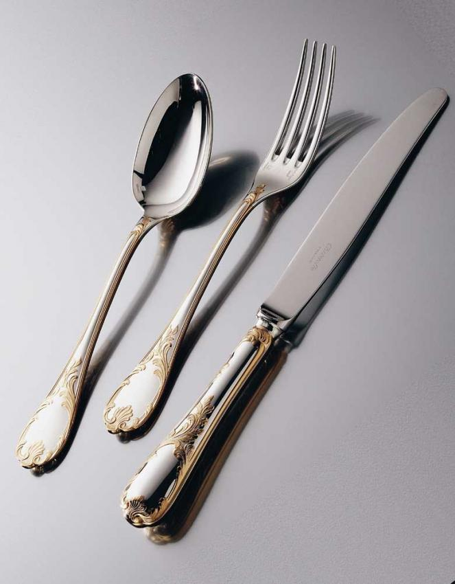 christofle marly cutlery in silver plated w gold decor. Black Bedroom Furniture Sets. Home Design Ideas