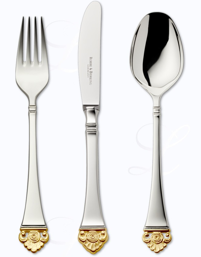 robbe berking rosenmuster cutlery in silver plated w gold decor. Black Bedroom Furniture Sets. Home Design Ideas