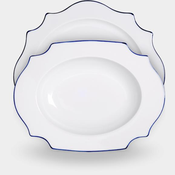 Reichenbach Taste Blaurand porcelain  - from tray to plate